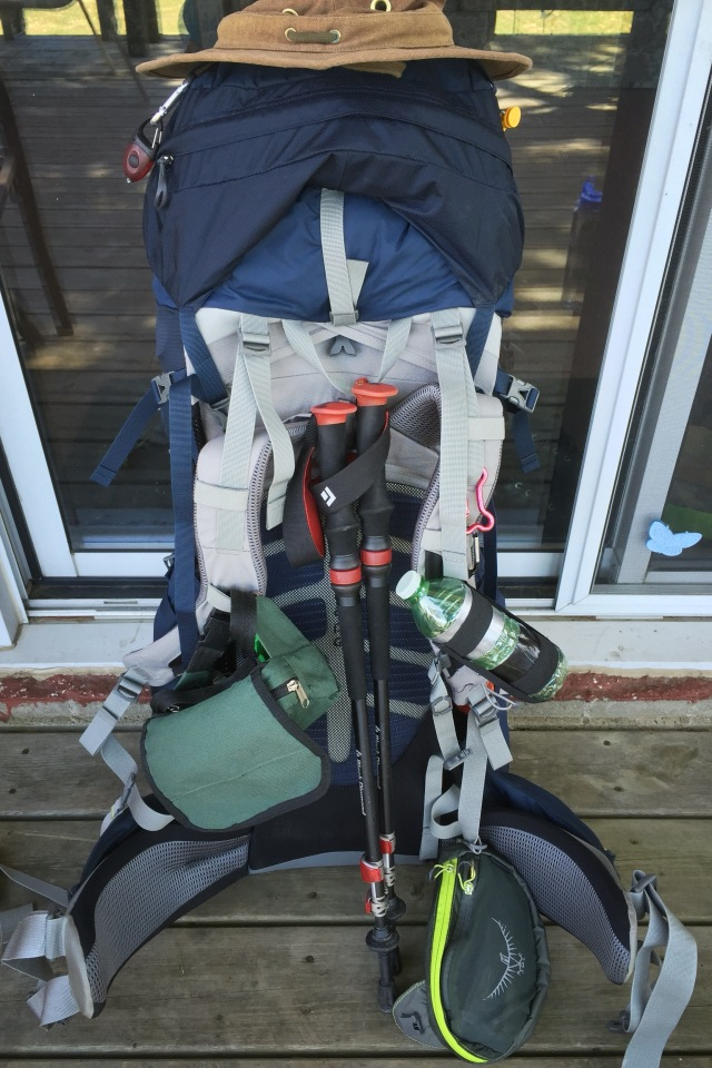 hiking pack ready to go